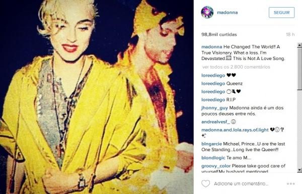 """Madonna: """"Ele mudou o mundo"""" - Crédito: Reprodução/Instagram"""