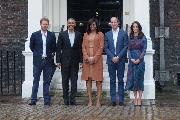 Príncipe Harry, Barack e Michelle Obama e William e Kate - Crédito: Reprodução/Twitter