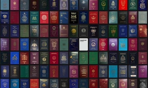 Pssaportes do mundo inteiro, todos com o símbolo dos países