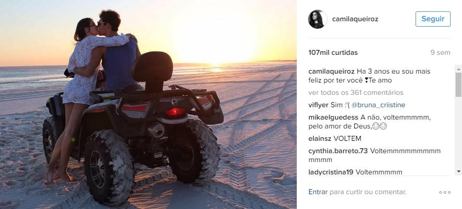 Lucas Cattani e Camila Queiroz - Crédito: Reprodução/Instagram