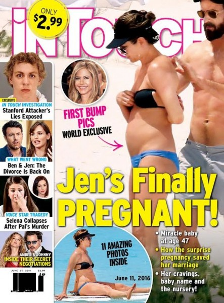 Capa da In Touch dizia que Jennifer estava grávida - Crédito: Reprodução/Twitter