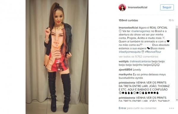 Larissa Manoela confirmou o show - Crédito: Reprodução/Instagram