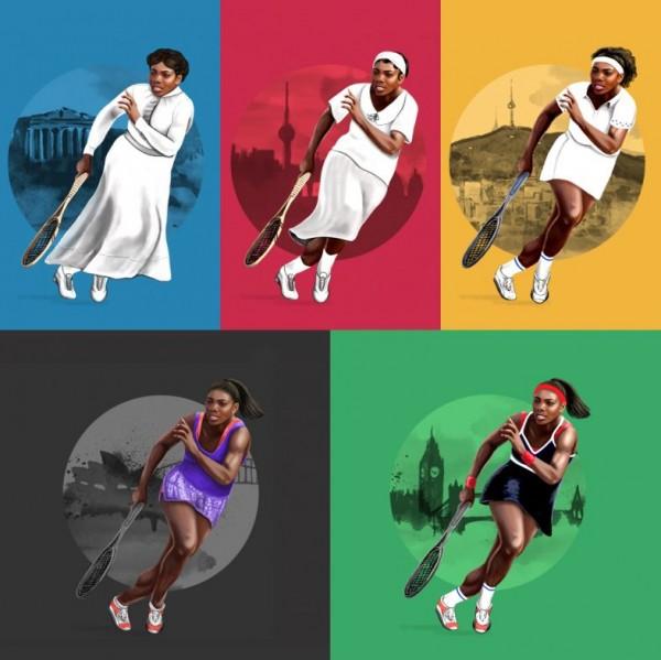 Serena Williams é retratada em uniformes antigos - Crédito: Reprodução/UmSóLugar