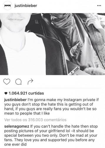 Justin e Selena trocaram farpas pelo Instagram - Crédito: Reprodução/Instagram