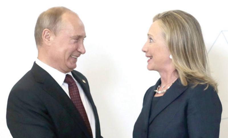 Vladimir Puttin e Hillary Clinton
