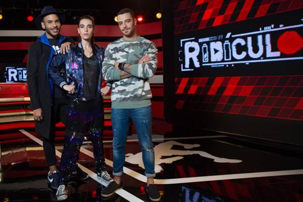 Hugo Gloss, Ellen Milgrau e Felipe Titto são os apresentadores do Ridículos - Crédito: MTV/Divulgação