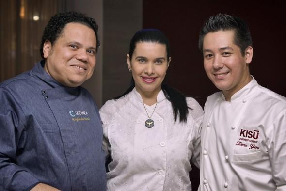 O chef Kaoru Yusa, do restaurante Kisu Cuisine, o chef Leandro Ricardo e a chocolatier Anna Corinna.