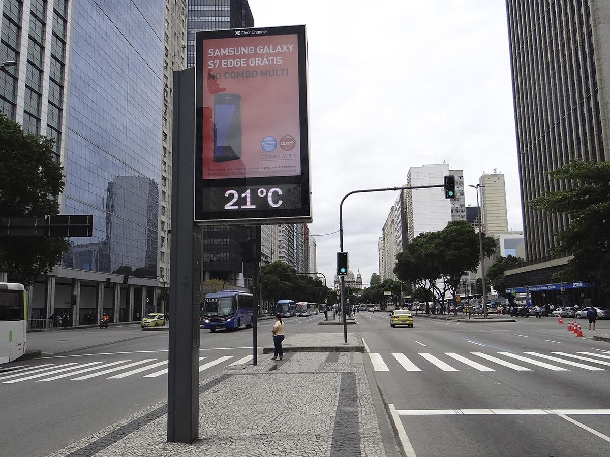 Relógio d rua no Rio de Janeiro - Crédito: Reprodução/Clear Channel
