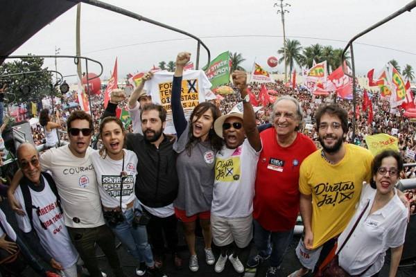 Artistas participam de ato por eleições diretas - Crédito: Reprodução/Twitter/Diretas Já