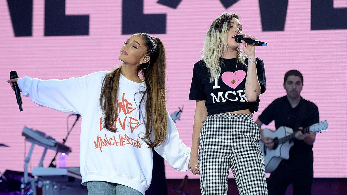 Ariana Grande e Miley Cyrus - Crédito: Reprodução/Twitter