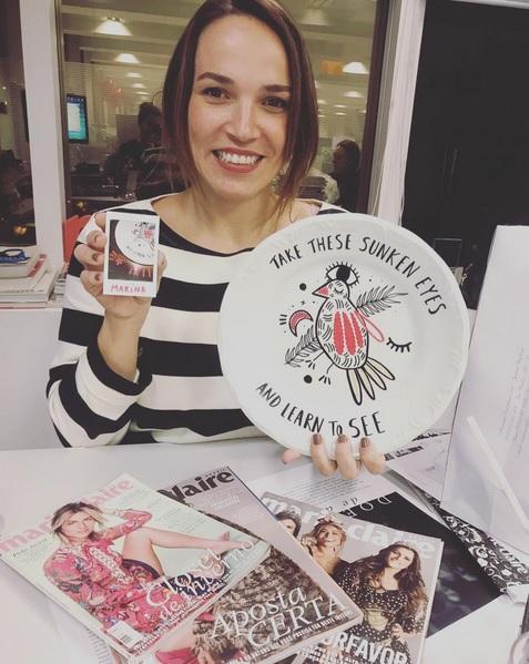 Marina Caruso, da Marie Claire Brasil recebeu seu prato personalizado - Crédito: Reprodução/Instagram/Bellatatua