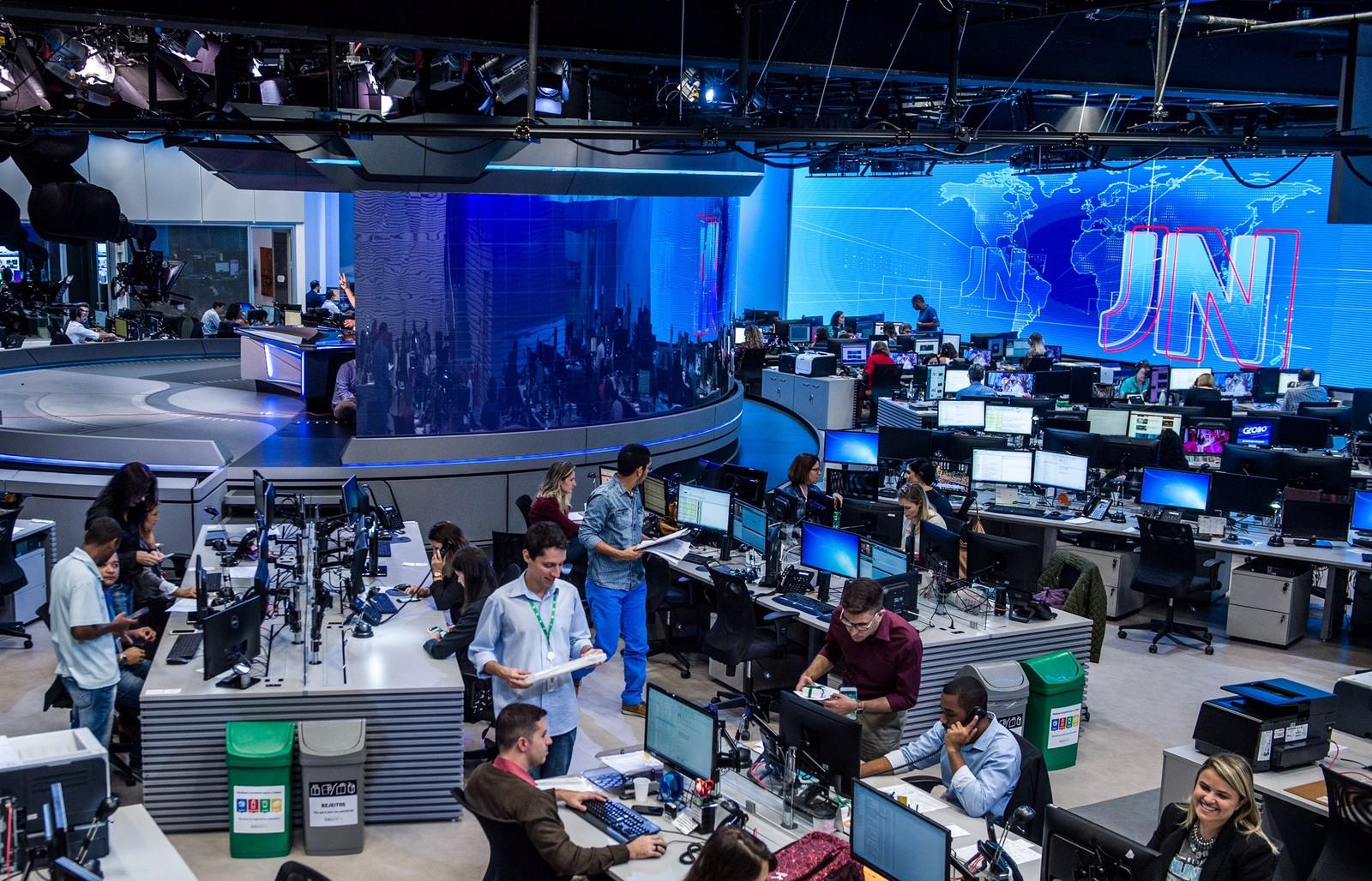 Nova redação do jornalismo da Globo - Crédito: João Cotta/Globo/Divulgação