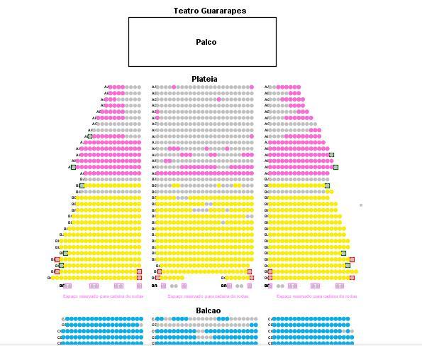 O mapa da sessão extra com os lugares disponíveis - Crédito: Divulgação/Eventim