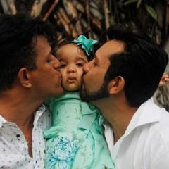 """""""Ela sabe que tem dois pais"""", diz Eliel Alves, casado com Berg Goodman, sobre a filha Marjory Luisa"""