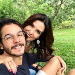 Fátima Bernardes comemora aniversário com bolo de rolo