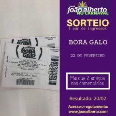 Sorteio: Um par de ingressos para o Camarote Bora Galo
